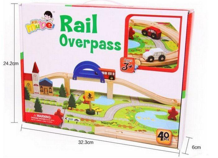Детски дървен конструктор 40 части с релси,парк,надлез, дървени коли гр. Бургас - image 9
