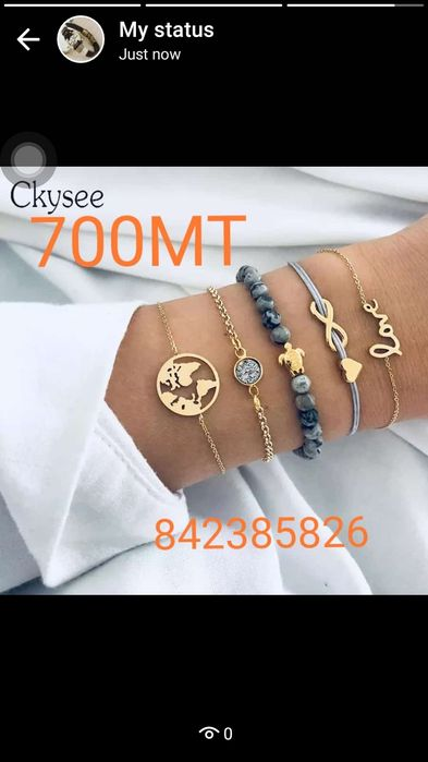 promoção 5 pulseiras por 600MT