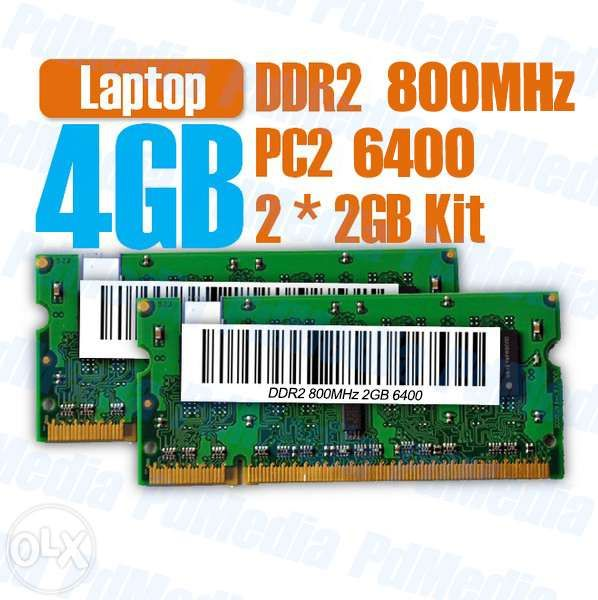 Memorie Laptop DDR2 2x2 GB(4GB) 667Mhz 800MHz Testate Garantie 12 Lu