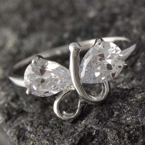 GR157,inel placat aur alb 18k,model fluture, zircon alb