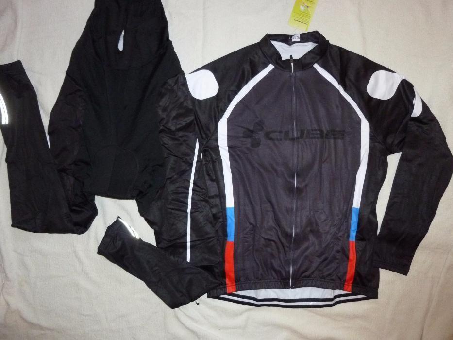 Echipament ciclism CUBE negr 2018 toamna iarna bluza pantaloni set nou