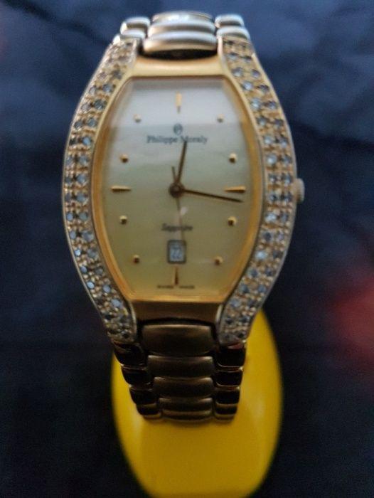 Ceas Philippe Moraly, cu cristale Swarovski, placat cu aur 24K, Swiss