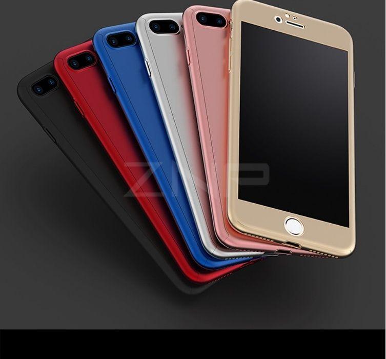 Iphone 8 8 Plus - Husa 360 Plastic Slim Fata Spate Si Folie Sticla