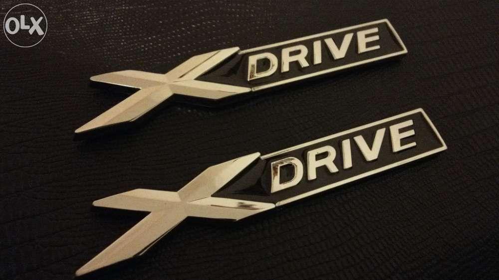 Emblema BMW X- Drive metal negru/ crom