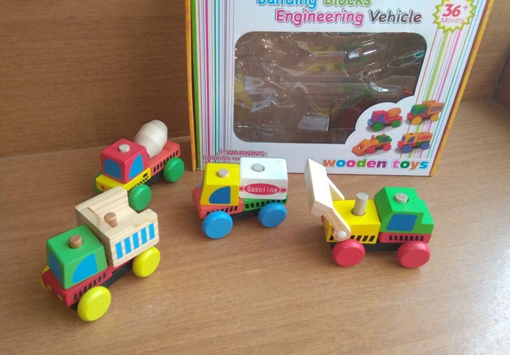 НОВО 4бр. модела дървени големи камиончета в комплект на ниска цена