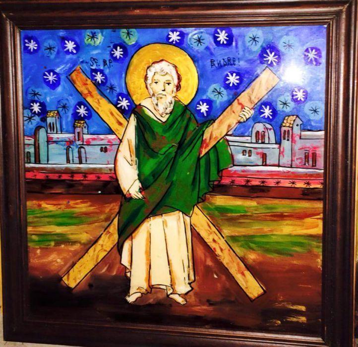Sf Andrei, icoana pictata pe sticla