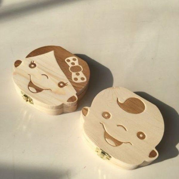 Cutiuta din lemn pentru dinti de lapte