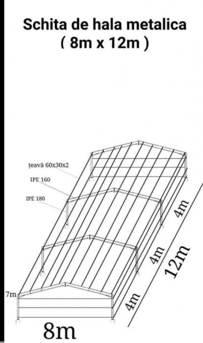 Vând hală metalică din țeava și din profil 15 X 30x 4 m 11000 e Tulcea - imagine 4
