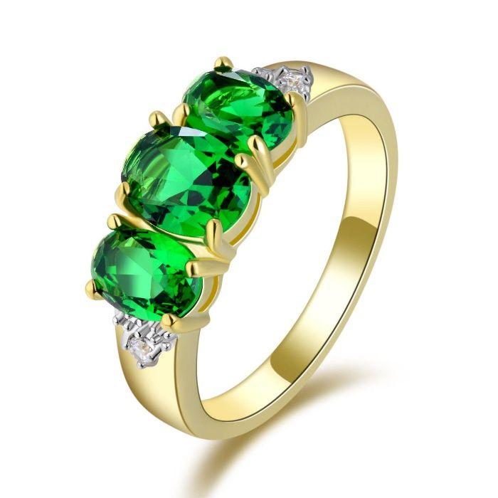 GPR149,inel placat aur 18k, deosebit, zircon alb/verde, nou