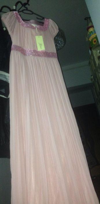 Rochie lunga plisata roz pal tip Lucia Hohan/ de ocazie/ marimea XL/L
