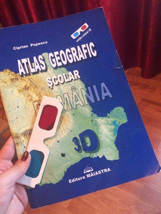 Atlas Geografic Scolar 3D,Editura Măiastra,contine ochelari 3D