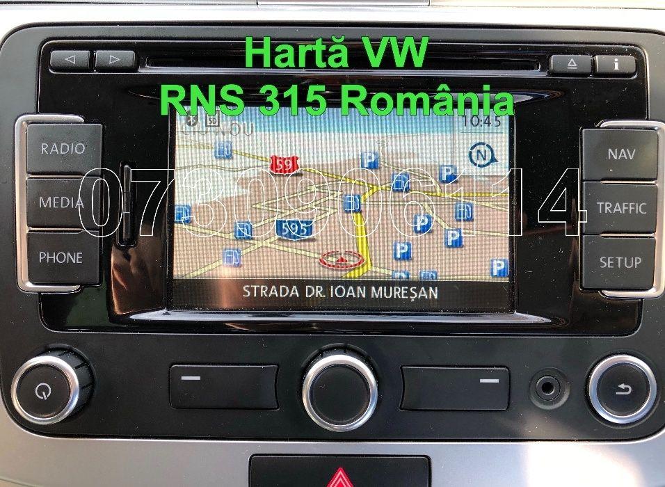 CARD SD VW RNS 315 Passat Seat Skoda Octavia harti navigatie Romania
