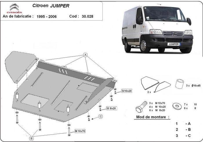 Scut motor metalic Citroen Jumper 1995 - 2006 otel 2mm