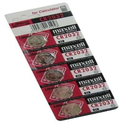 Pilha Maxell CR2032 de botão 3V Lítio Pack 5 Unidades