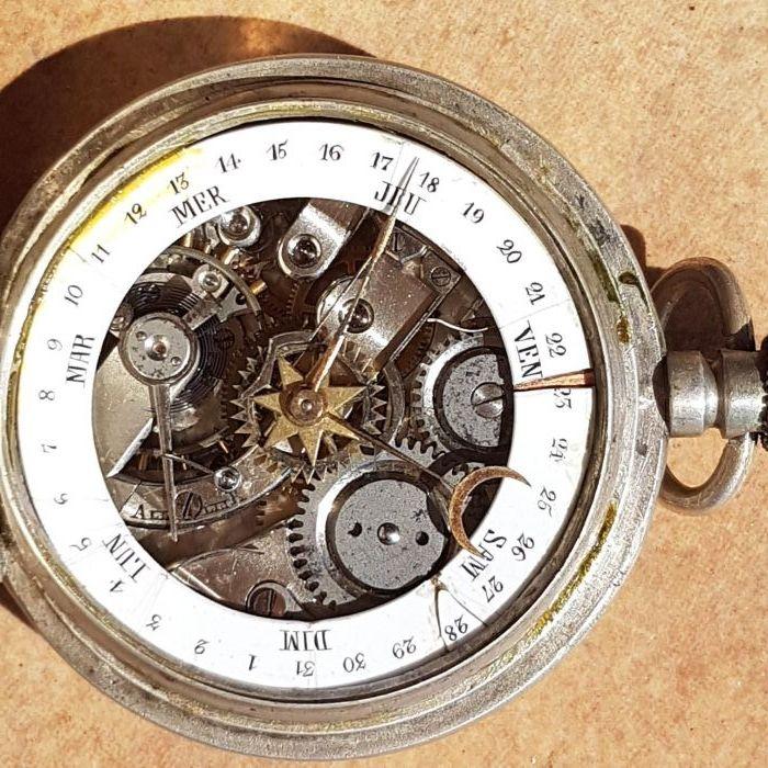 Ceas de buzunar argint cu calendar antic