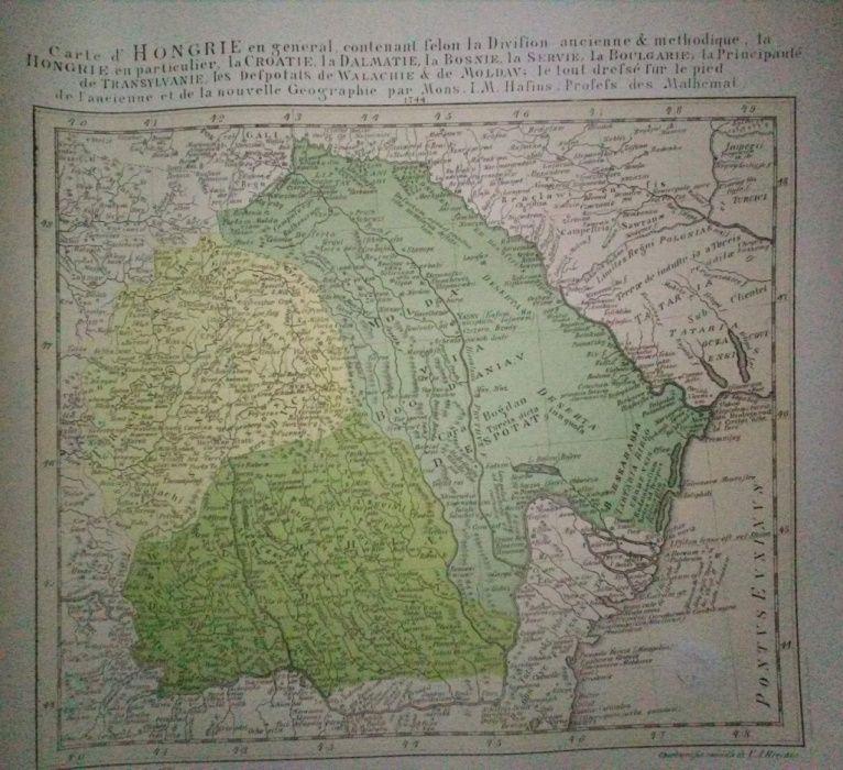 Harta Țărilor Române de Hafius la 1744. Aici, o ediție litografiată co