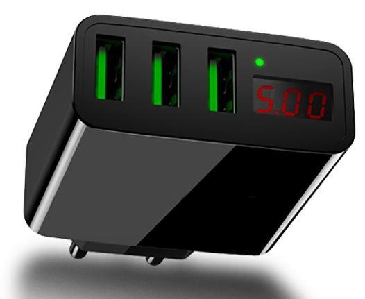 USB Charger 3 port ,3A MAX, LED meter.Зарядно за таблет,телефон и др.