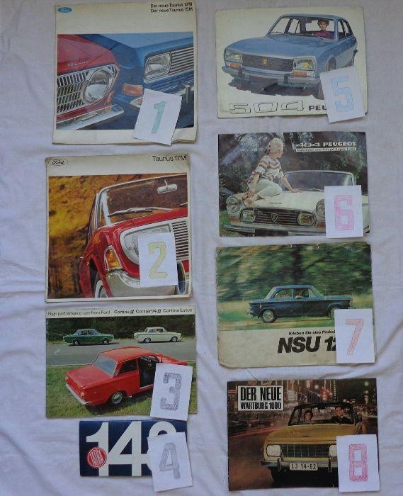 Ретро рекламни проспекти на автомобили модели 1960-70 год Пежо, НСУ