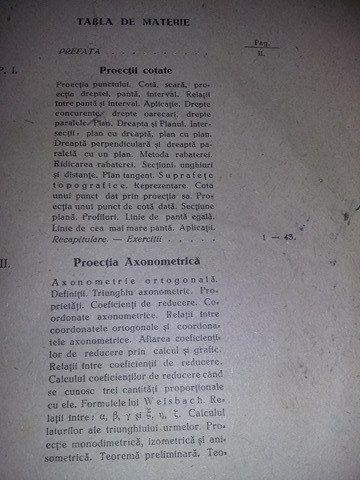 aplicatiile geometriei descriptive 1946,teoria umbrelor,sup.topografic