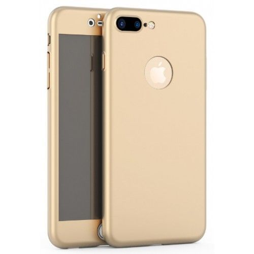 Husa iPhone 7PLUS GOLD 360 grade protectie fata-spate + Folie sticla
