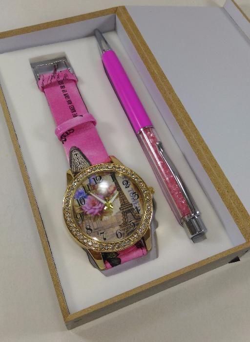 Set ceas și pix roz, vintage cu tema Paris