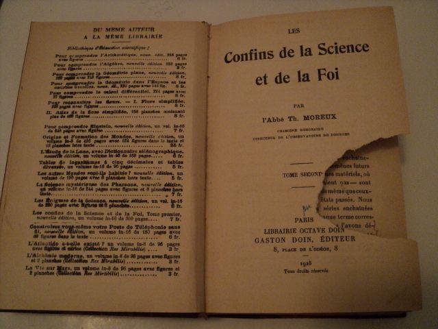 Carte - Confins de la Science et de la Foi - carte in limba franceza