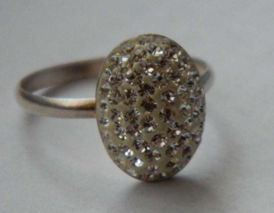 ARG179, inel argint 925,nou/marcat, masiv, cristale swarovsky albe