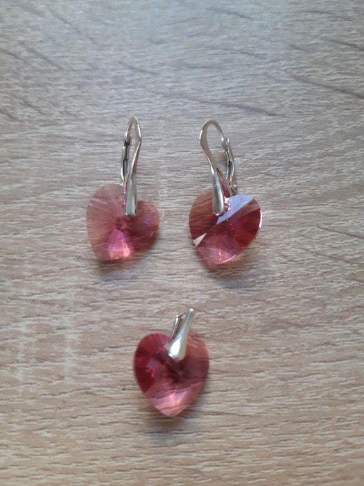 Set cercei + pandantiv Swarovski roz