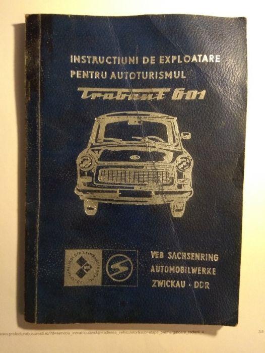 Manual exploatare, intretinere si service Trabant - fotocopie