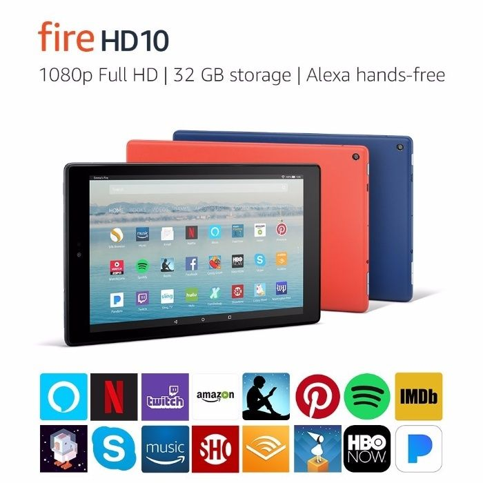 "Fire HD 10 Tablet with Alexa Hands-Free, 10.1"" 1080p Full HD Display,"