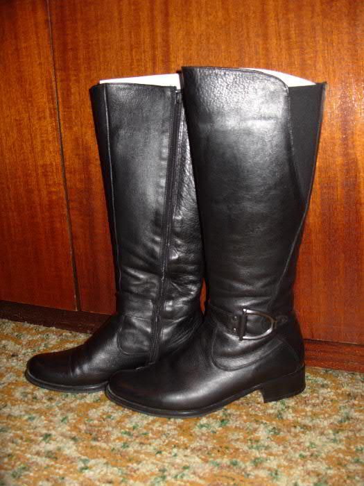 Дамски черни кожени ботуши - намалени на 50