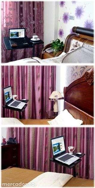 Masuta laptop reglabila-mini birou cu roti, masa laptop