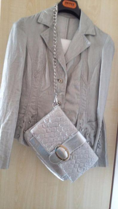 Сребристо сако късо готино в комплект със сребриста чанта клъч