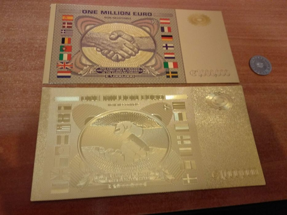 Bancnota placata aur 24K 1 milion euro 2 modele