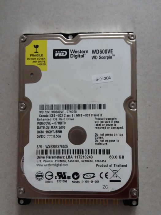 Hard disk Western Digital 60GB