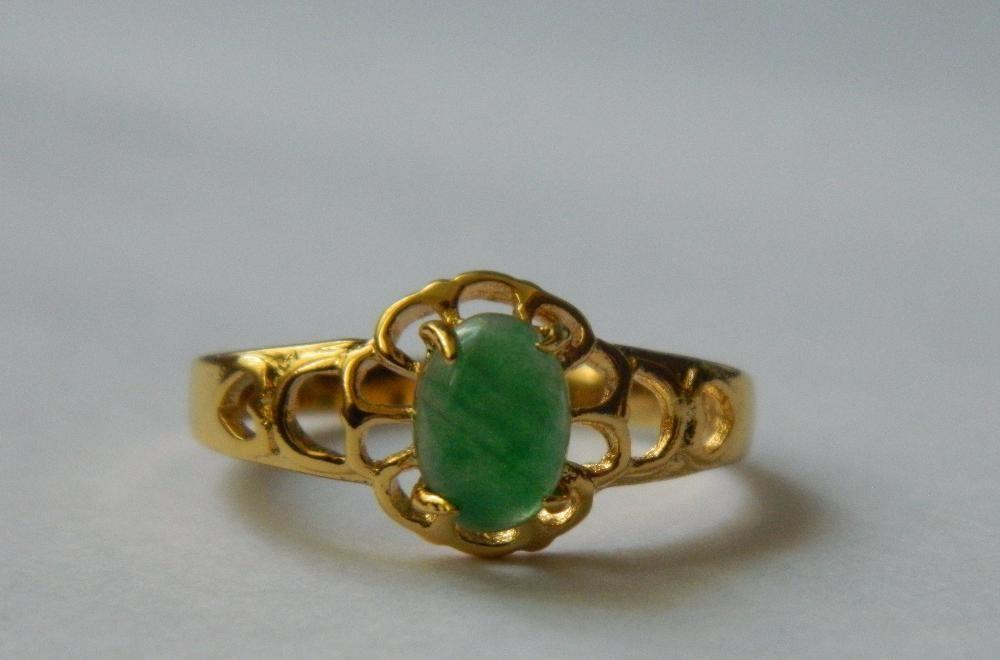 GR208,inel placat aur 14k,jad natural, deosebit