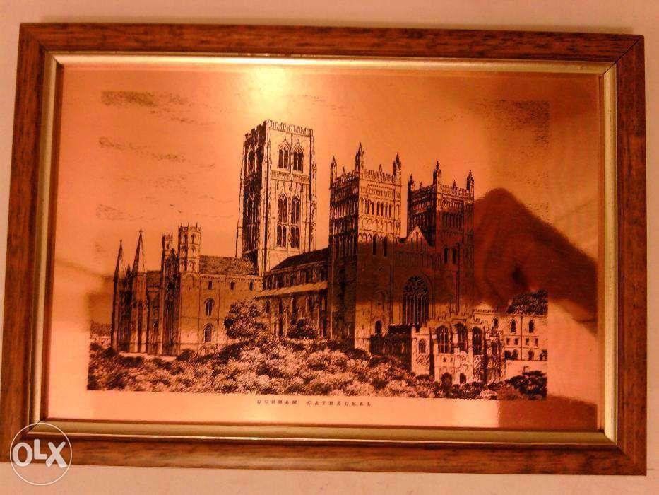 Tablou vintage serigrafie cupru Catedrala Durham Anglia; Insula Sfanta