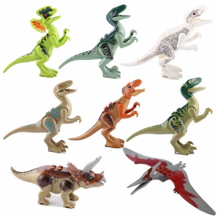 Figurine dinozauri tip LEGO Jurassic World, T-Rex, Indominus, Raptori