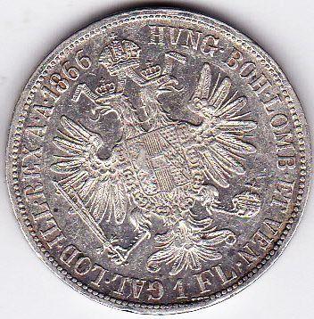 Moneda 1 Florin Forint Gulden 1866 A Austria Ungaria argint a.UNC RAR