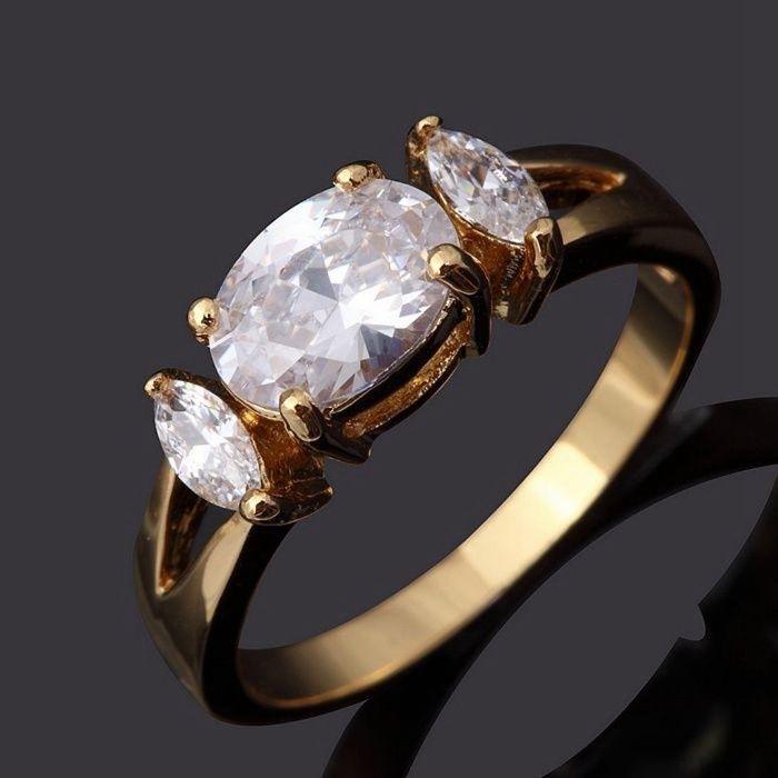 GR341,inel placat aur 14k, ideal logodna, zircon alb fatetat