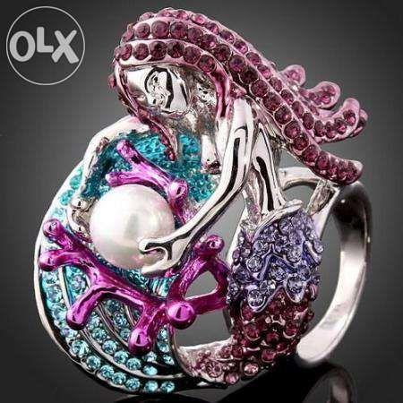 Inel misterios sirena,18kgp,din cristale Swarovski-model unic!