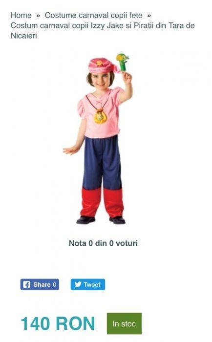 Costum fete carnaval halloween serbare Izzy Jake si piratii 3/4 ani