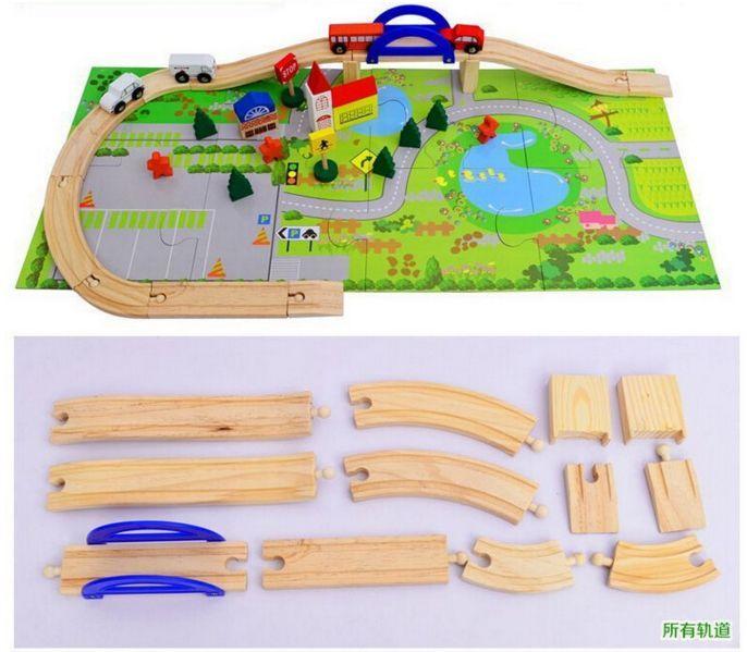 Детски дървен конструктор 40 части с релси,парк,надлез, дървени коли гр. Бургас - image 6
