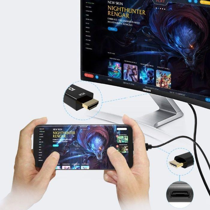 Cablu convertor USB-C Type-C la HDMI, compatibil laptop, telefon, 2M
