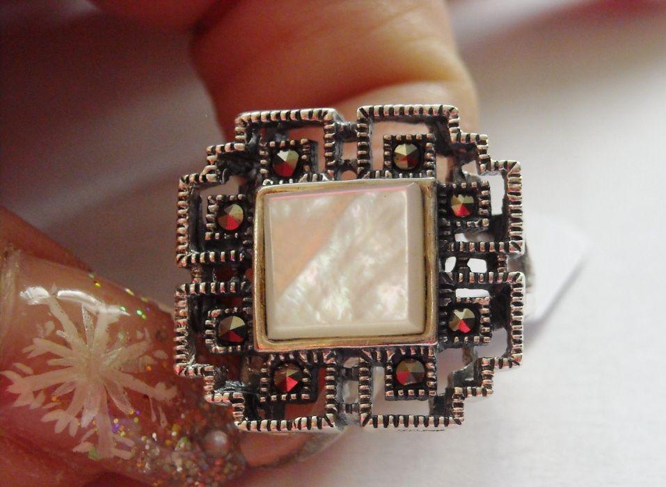 U8,inel argint 925,nou/marcat, masiv, cu marcasite si sidef natural