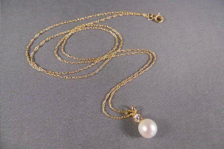 Colier 14k perla și diamant 0.10ct natural