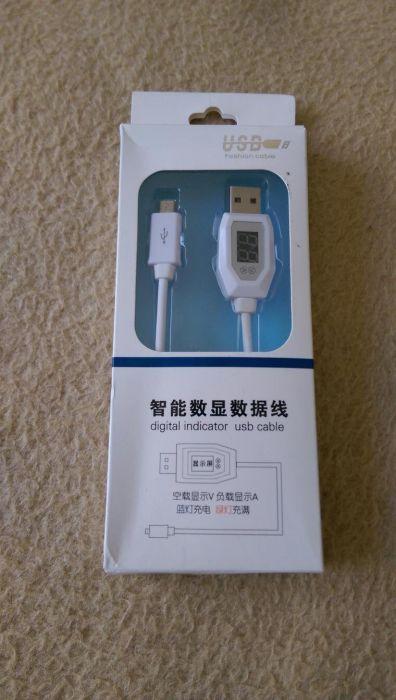Cablu micro usb cu voltmetru si ampermetru