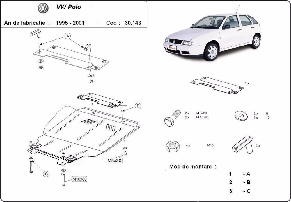 Scut metalic pentru motor VW Polo 1999-2001 - otel 2mm