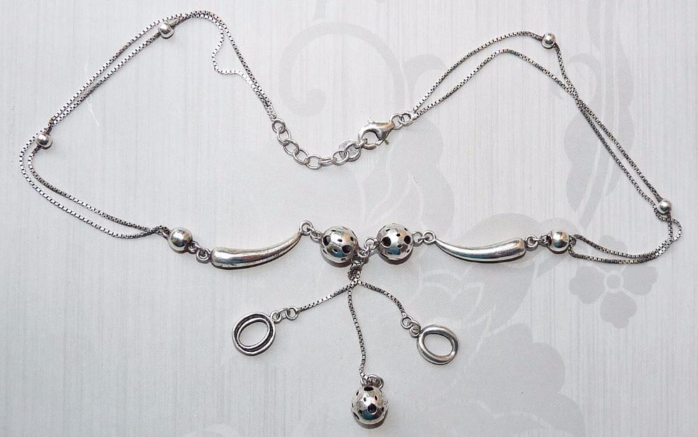 Colier din argint, format din zale ovale si bile