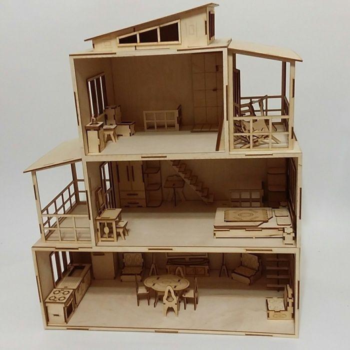 Кукольный домик из фанеры размер 50*50*23. Цена 11000 тн.без мебели. С